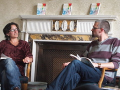 Jasmine Donahaye (l) in conversation with Matthew Jarvis (r). Photograph by kind permission of Heike Roms.